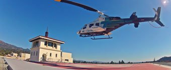 CALSTAR Helicopter Landing on roof at SBCH