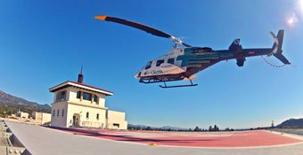 CalStar helicopter landing on Santa Barbara Cottage Hospital roof